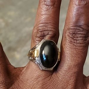 Vintage Sterling Silver and Gold Onyx Ring